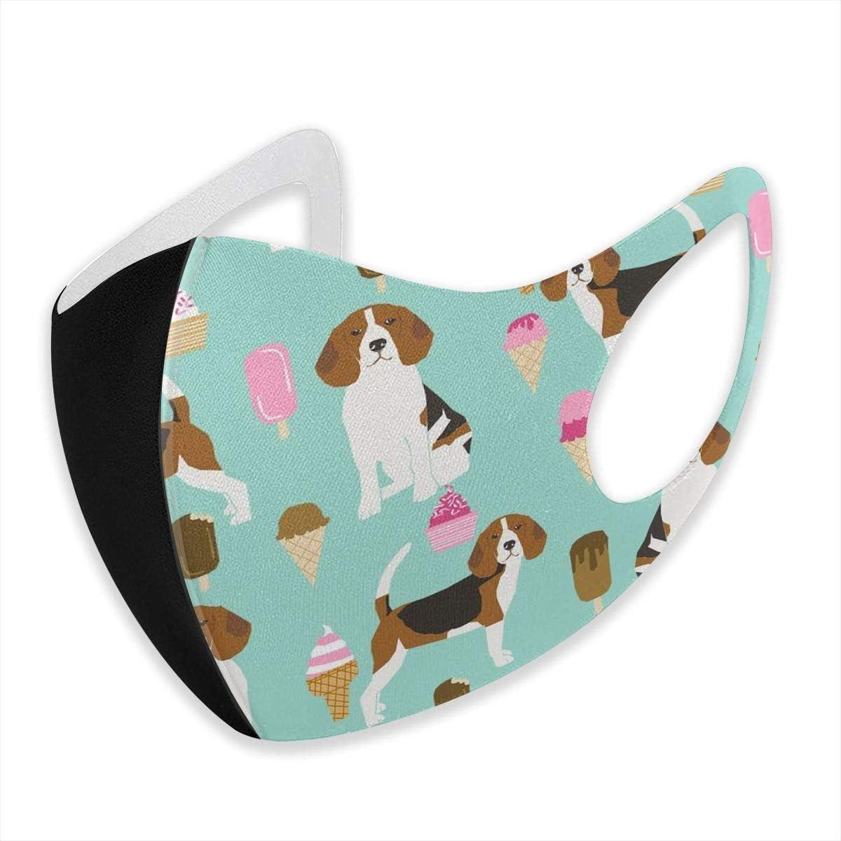 Beagle Ice Cream Dog Raza Verano Postre Comida Menta al Aire Libre Paseo Mascarillas Decorativas Antipolvo, cálidas, Transpirables y Lavables