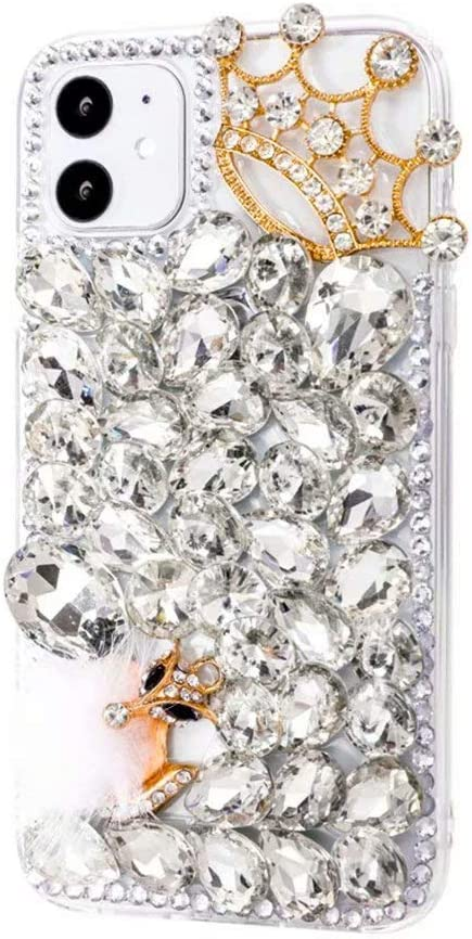 iPhone 11 Pro Max Bling Glitter Case,Luxury Shiny Diamond Crystal Rhinestone Sparkly Jewelled Gemstone Crown Fox 3D Handmade Clear Cover Case for iPhone 11 Pro Max 6.5''