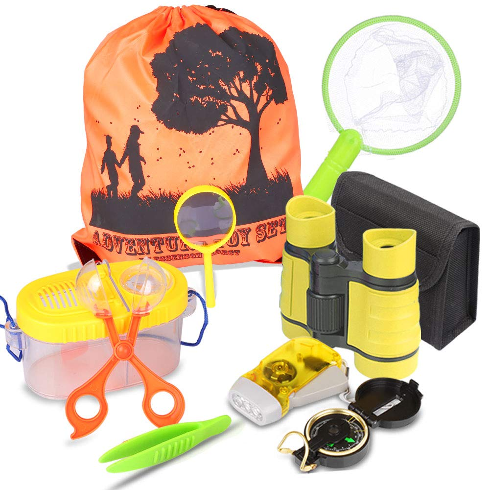 Outdoor Explorer Kit & Bug Catcher Kit with Binoculars, Flashlight, Compass, Magnifying Glass, Butterfly Net and Backpack Great Kids Gift for Boys & Girls Age 3-12 year old Camping, Hiking, Pretend