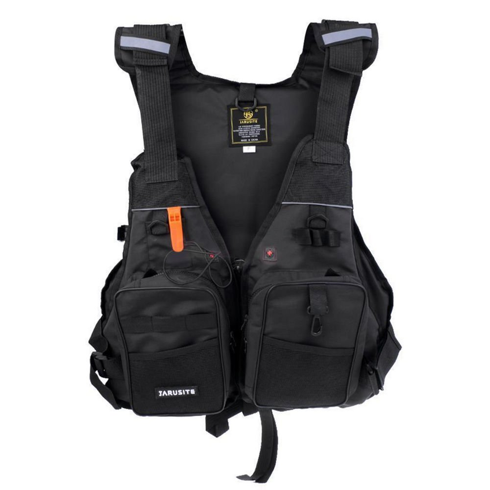 L-King Adult Kayak Canoe Sailing Fishing Life Jacket Outdoor Water Sports Swimming Buoyancy Aid Vest Preservers with Whistle Universal Black