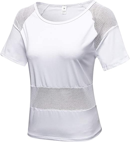 TIFENNY Fitness Shirt Smock for Women Yoga Shirts Sport Clothing Fashion Mesh Patchwork Breathable Training Tops Blouse