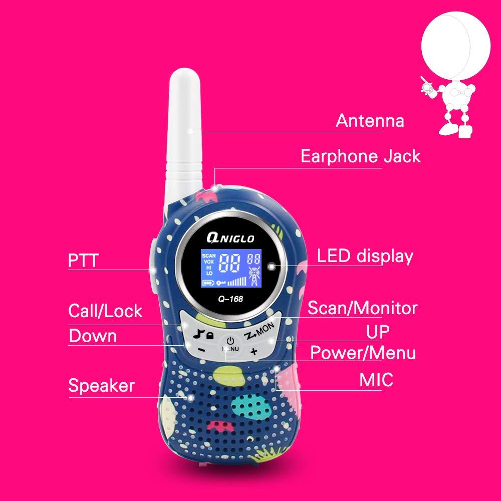 Qniglo Walkie Talkies Kids Adults 22 Channel Long Range 2 Way Radio Rechargeable Walkie Talkies(Blue,2 PCS) by Qniglo (Image #4)