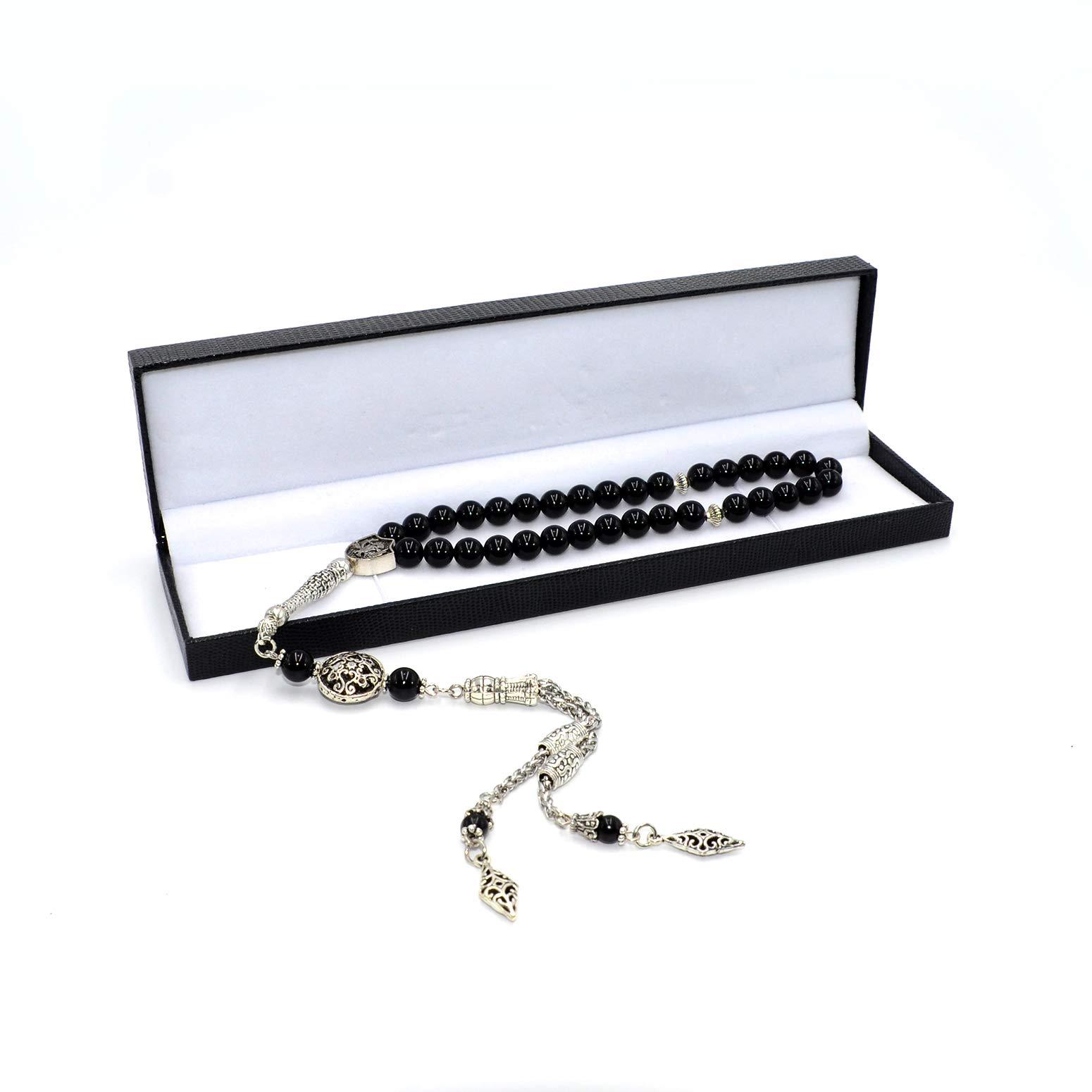 Stylist Black Onyx Prayer Beads (8 mm-33 Beads) Tesbih-Tasbih-Tasbeeh-Misbaha-Masbaha-Subha-Sebha-Sibha-Rosary-Worry Beads