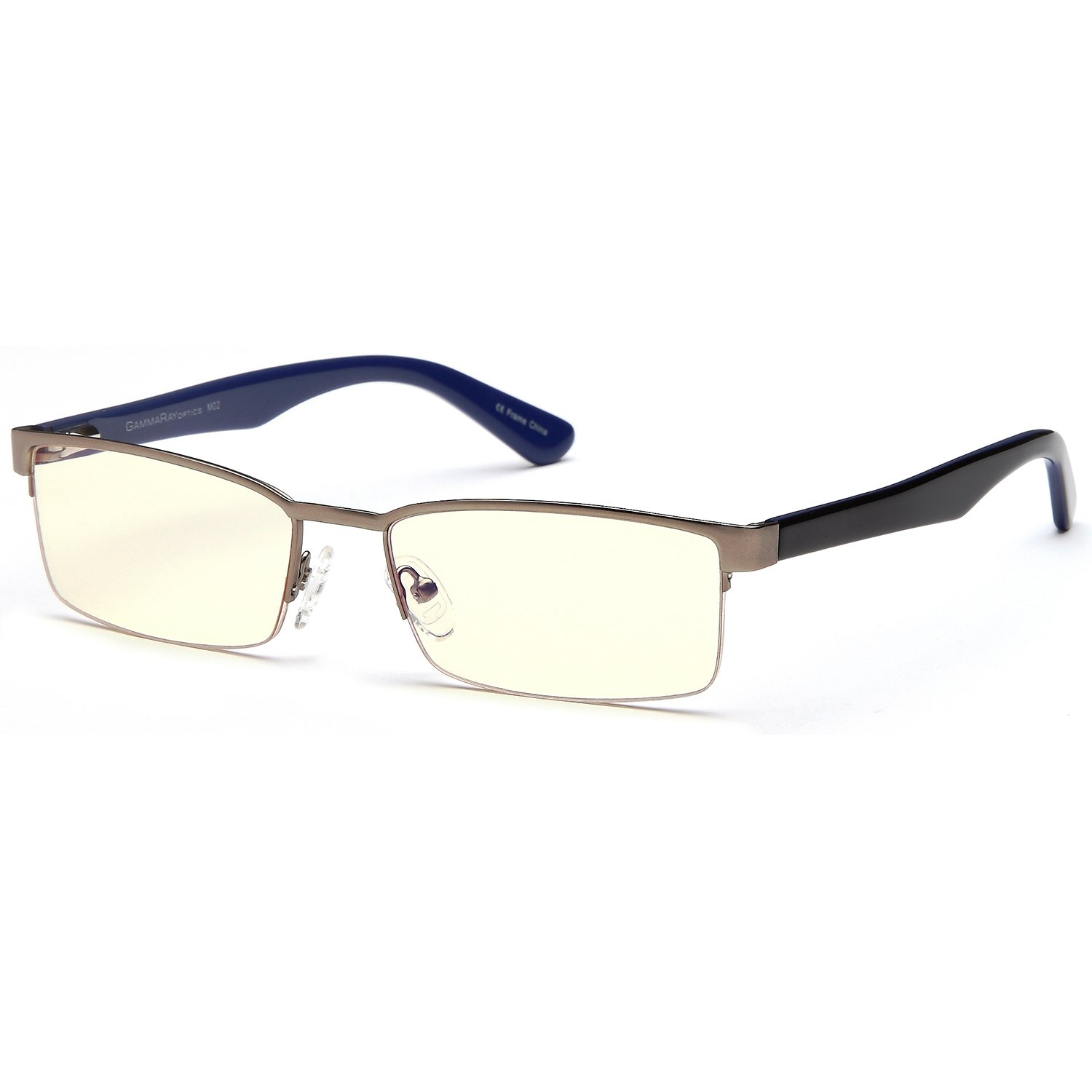 Gamma Ray Blue Light Blocking Glasses - Amber Tin Eye Strain Reducing for TV Gaming Computer Glasses - Filters Harmful Blue Light - No Magnification Amber Tinted Lens Video Gaming Glasses