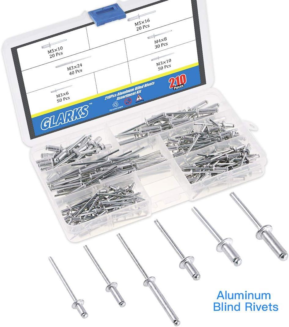 1000PC Blind Rivets Set Assorted Hand Rivet Pop Aluminium Tête Steel Shank