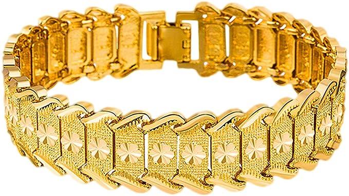 Hombre PIXNOR 24 K muñeca pulsera brazalete de oro (Golden): Amazon.es: Electrónica