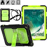 iPad 9.7 2017 case DUNNO Heavy Duty Full Body Protective Stand Case with Three Layer Desig & Removable Shoulder Strap for Apple iPad 9.7 inch 2017 / iPad Air 2 / iPad Pro 9.7 2016 (Black/Green)