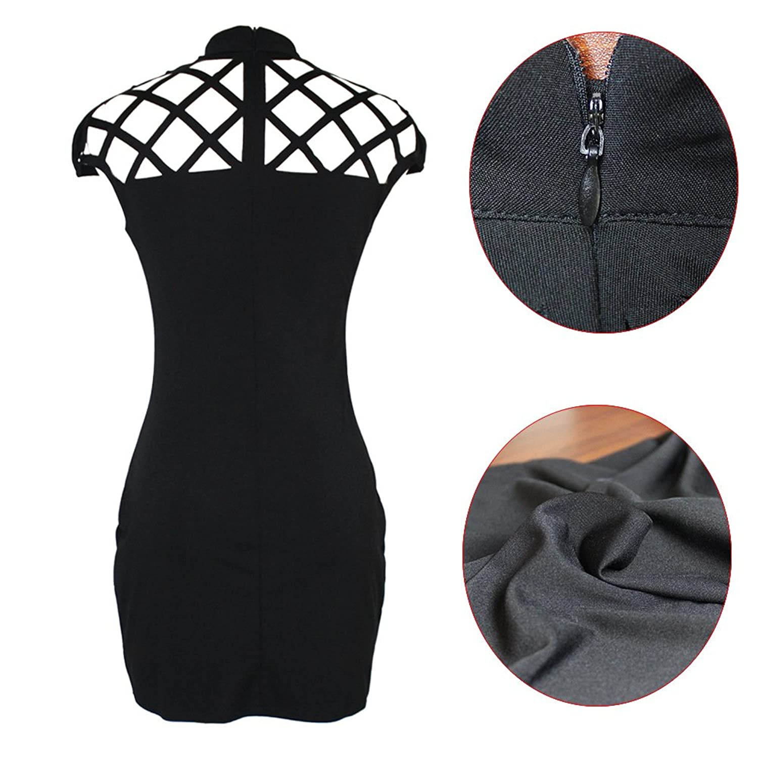 Momtmo Hollow Out Cocktail Party Mini Pencil Bodycon Dress Black for Women