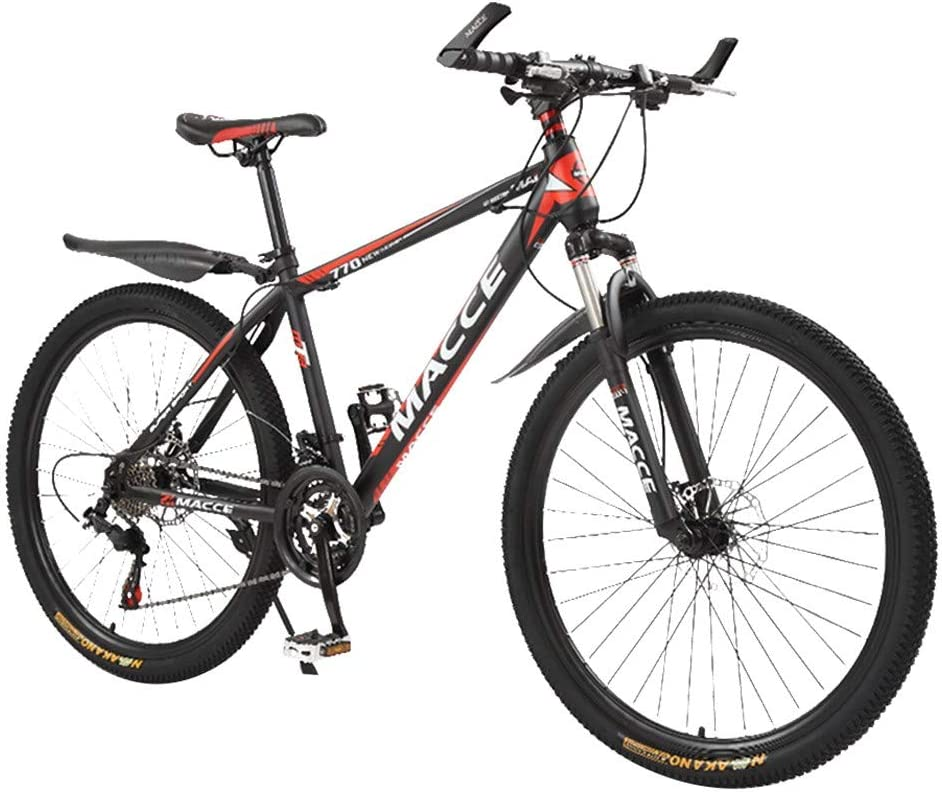 Dream-SZ Adult Mountain Bikes 26 Inch Steel Carbon Mountain Trail Bike High Carbon Steel Full Suspension Frame Folding Bicycles 21 Speed Gears Dual Disc Brakes Damping Mountain Bicycle