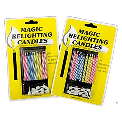 Image Unavailable Not Available For Color 20pcs Funny Magic Trick Relighting Candle Birthday Cake