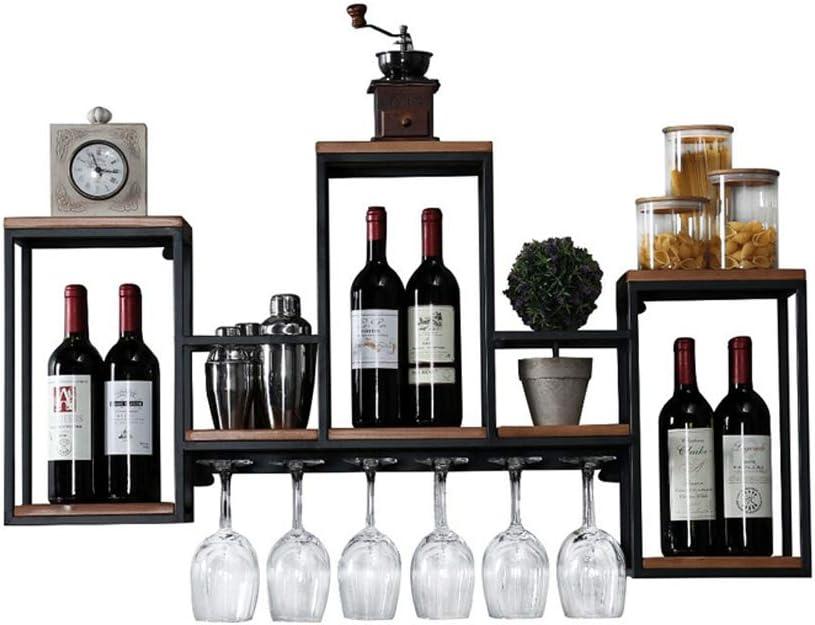 MKJYDM Bastidor De Vino De Madera De Hierro Forjado Nordic Wall Hanging Wine Rack Rack Enrejado Marco Simple Restaurante Decoración Vinoteca Vino Estante De Vidrio 106x20x55cm Estantería de Vino