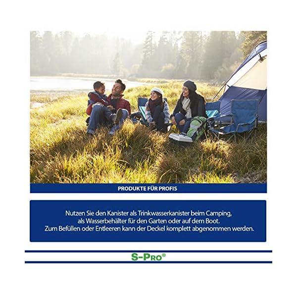 61vFQIrQdfL S-Pro Wasserkanister Trinkwasser mit Hahn, Lebensmittelecht, 10l für Haus, Garten und Camping Wasserbehälter, leer