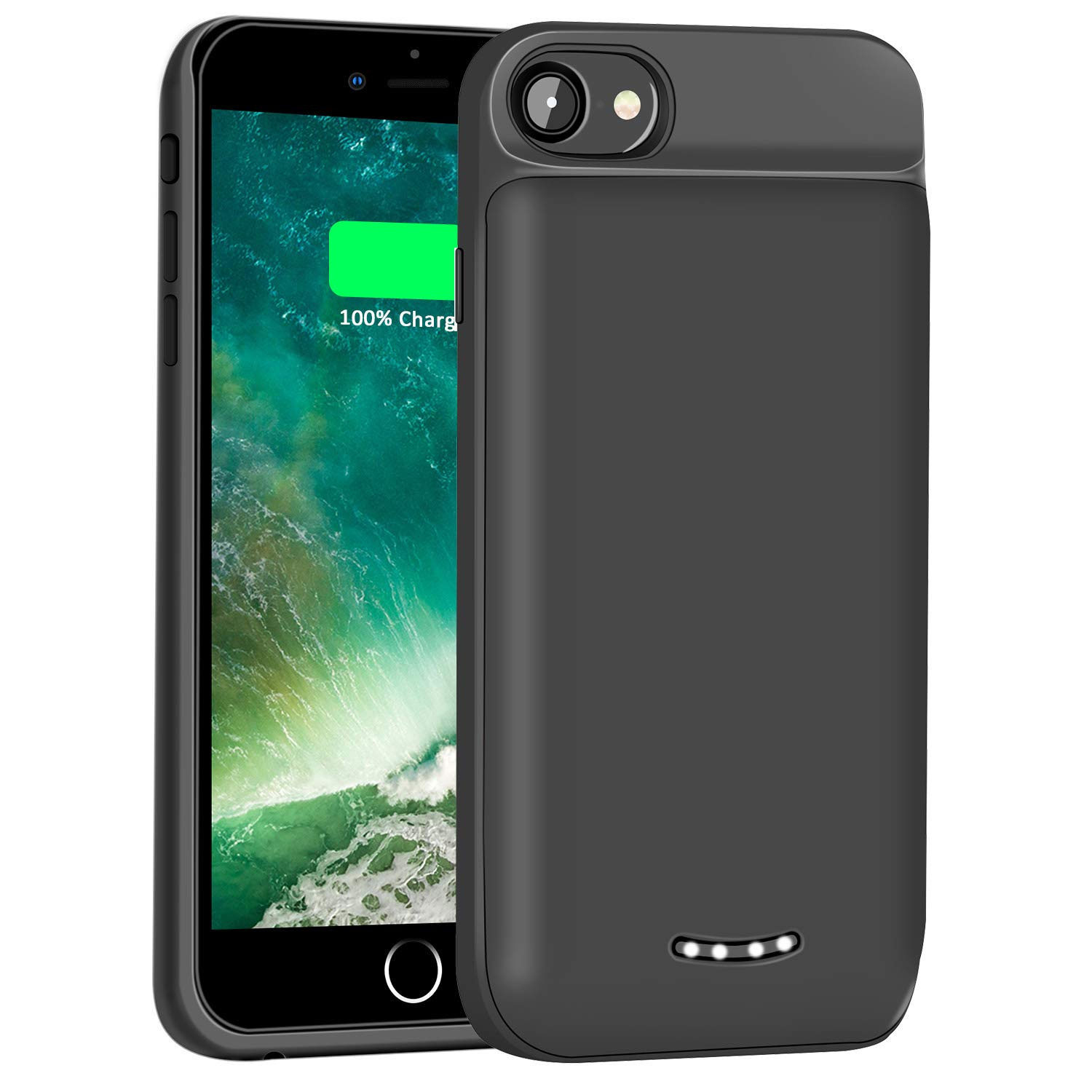 Tech Care For iPhone 8 7 6S 6 Battery Case 5000mAh Portable Charging Case Rechargeable Protective Extended Battery for iPhone 8 7 6S 6 4.7 Inch (Black)