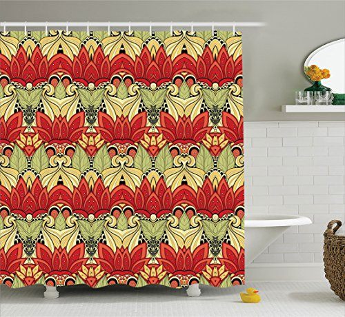 Ambesonne Batik Decor Shower Curtain by, Asian Batik Blooms Motif in Colors Ornate Nature Inspired Boho Floral Boho Image, Fabric Bathroom Decor Set with Hooks, 84 Inches Extra Long, Red Green