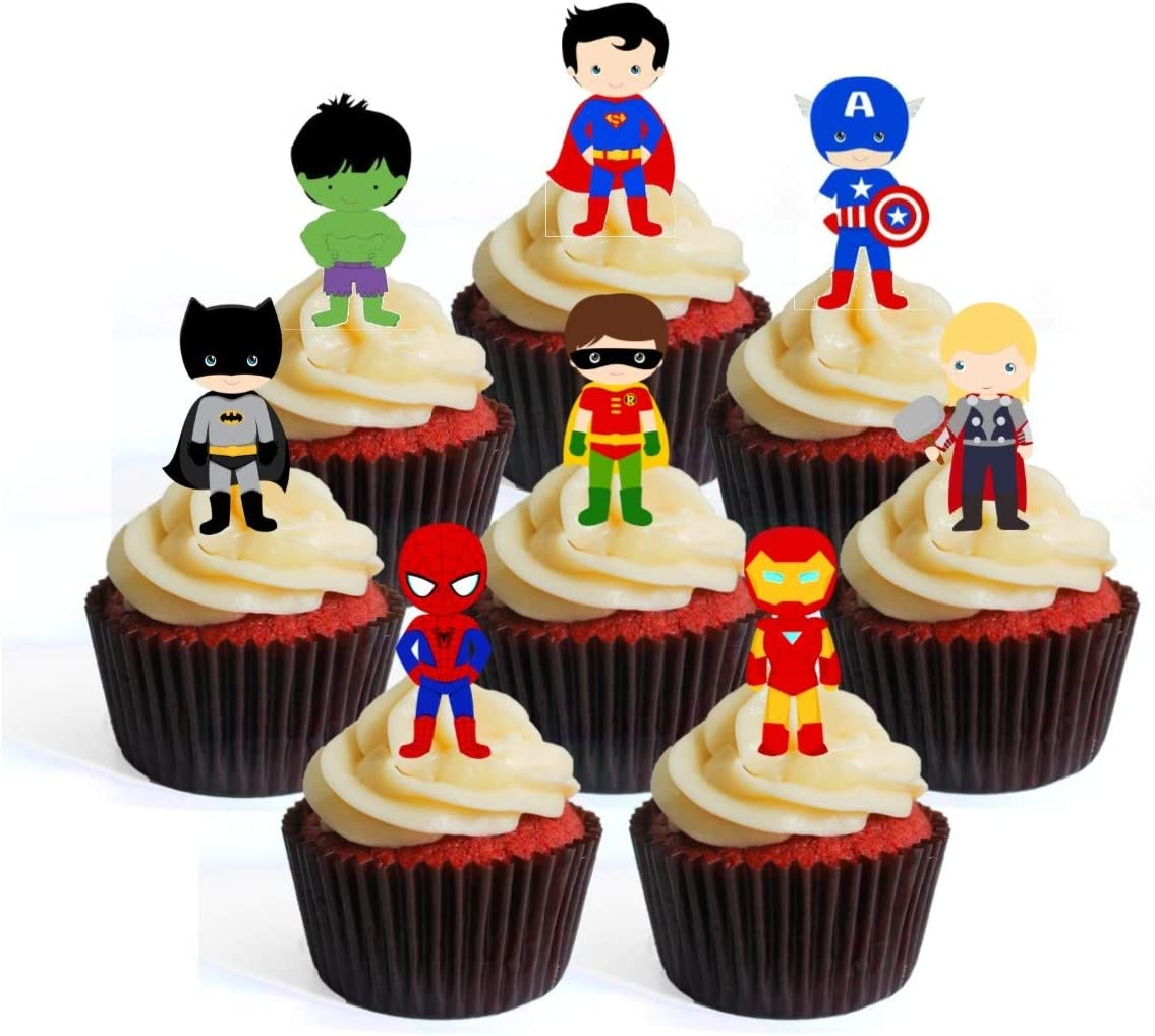 Stand Up Wafer Cake Decorations Packung mit 12 Topper per cupcake a tema Superhero # 1 Edible