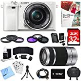 Sony Alpha a6000 White Camera with 16-50mm, 55-210mm Lenses and Accessories Bundle - Includes Camera, 2 Lenses, 2 Filter Kits, Memory Card, Software, Carrying Case, Battery, and More