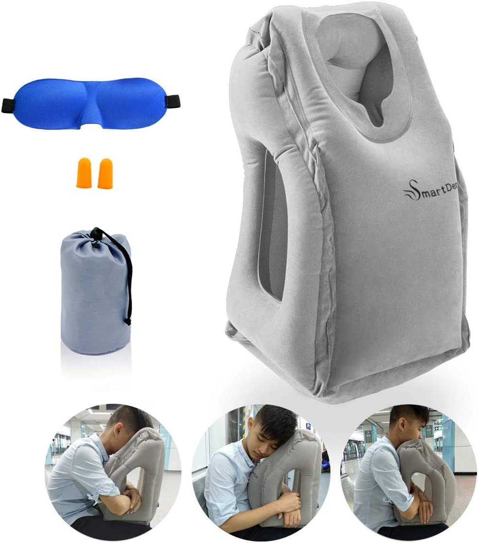SmartDer Inflatable Travel Pillow, Airplane Pillow, Neck Pillow for Airplane Travel, Travel Pillows for Airplanes & Office Napping with Head & Neck ...
