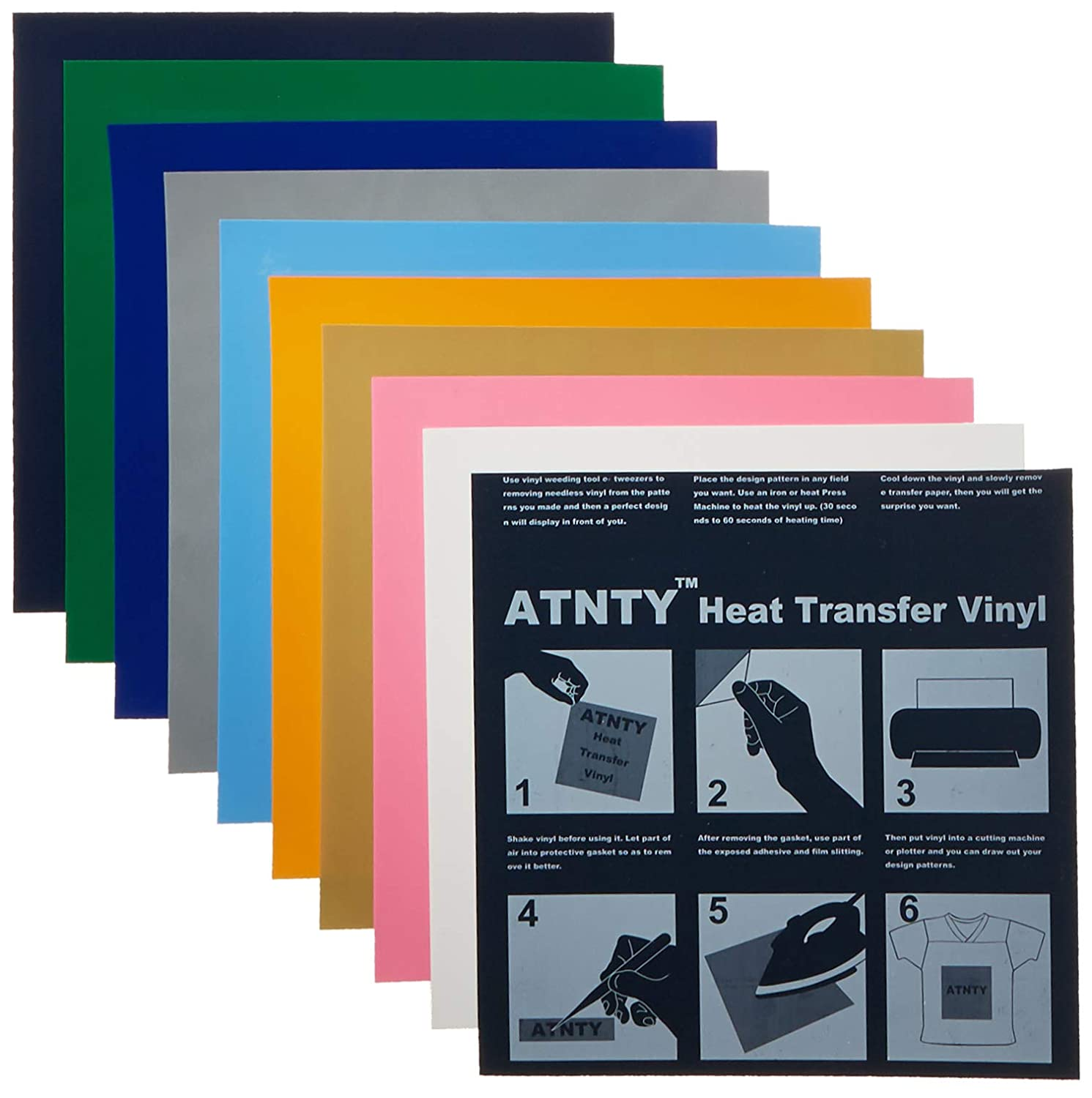 b7bf37e2e Amazon.com: ATNTY Easy to Weed Heat Transfer Vinyl HTV for T-Shirts 12  Inches by 12 Inches Sheets (10 Colors Bundle)