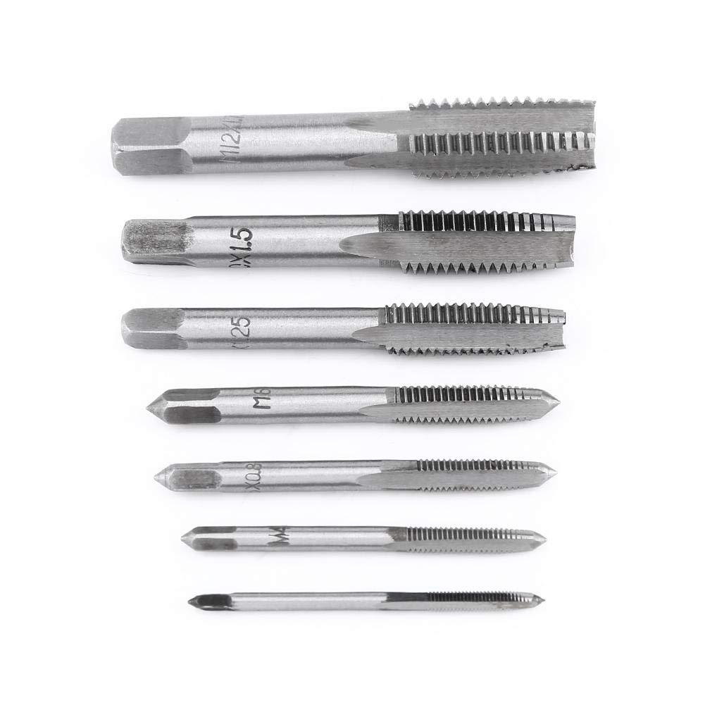 M4 Juego de herramientas de taladros de rosca Akozon 7pcs Herramienta de rosca de rosca m/étrica de acero M3 M12 M6 M5 M8 M10