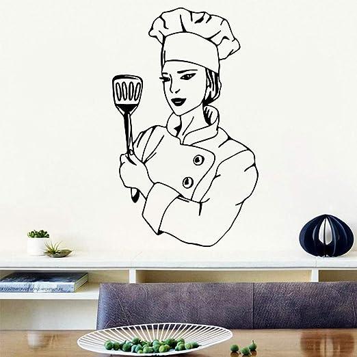caowenhao Nuevo Chef Mujer Apliques Extraíble Vinilo Mural Cartel ...