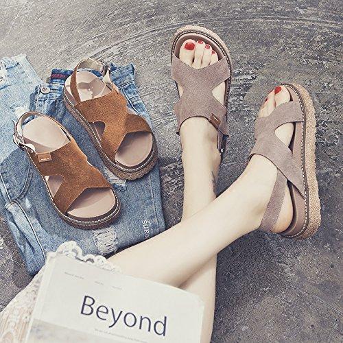 Plana Sandalias SOHOEOS caramelo Color para Verano Mule Plataforma Zapato Abierto Mujer Alta Nueva Vintage damas cuña Señoras FdqSwnd8