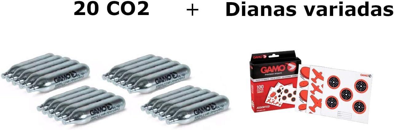 Pack 20 bombonas CO2 12gr. Gamo + 100 Dianas Gamo variadas. para Pistolas y Carabinas