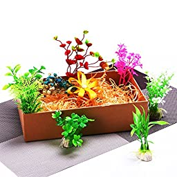 Mudder Aquarium Plastic Plant Fish Tank Plants Aquarium Decor Plants, 10 Pieces