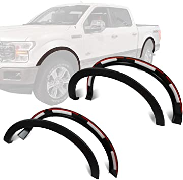 6 Piece Front /& Rear Factory OE Style Smooth Fender Flares Matte Black Paintable