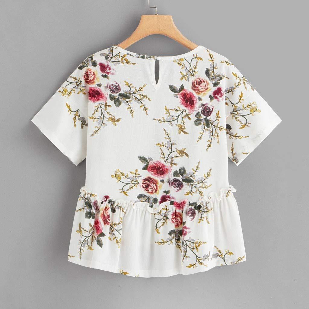 Womens T-Shirt Flower Printed Tee Short Sleeve Ruffled Tops Summer Casual Beach Blouses Transer