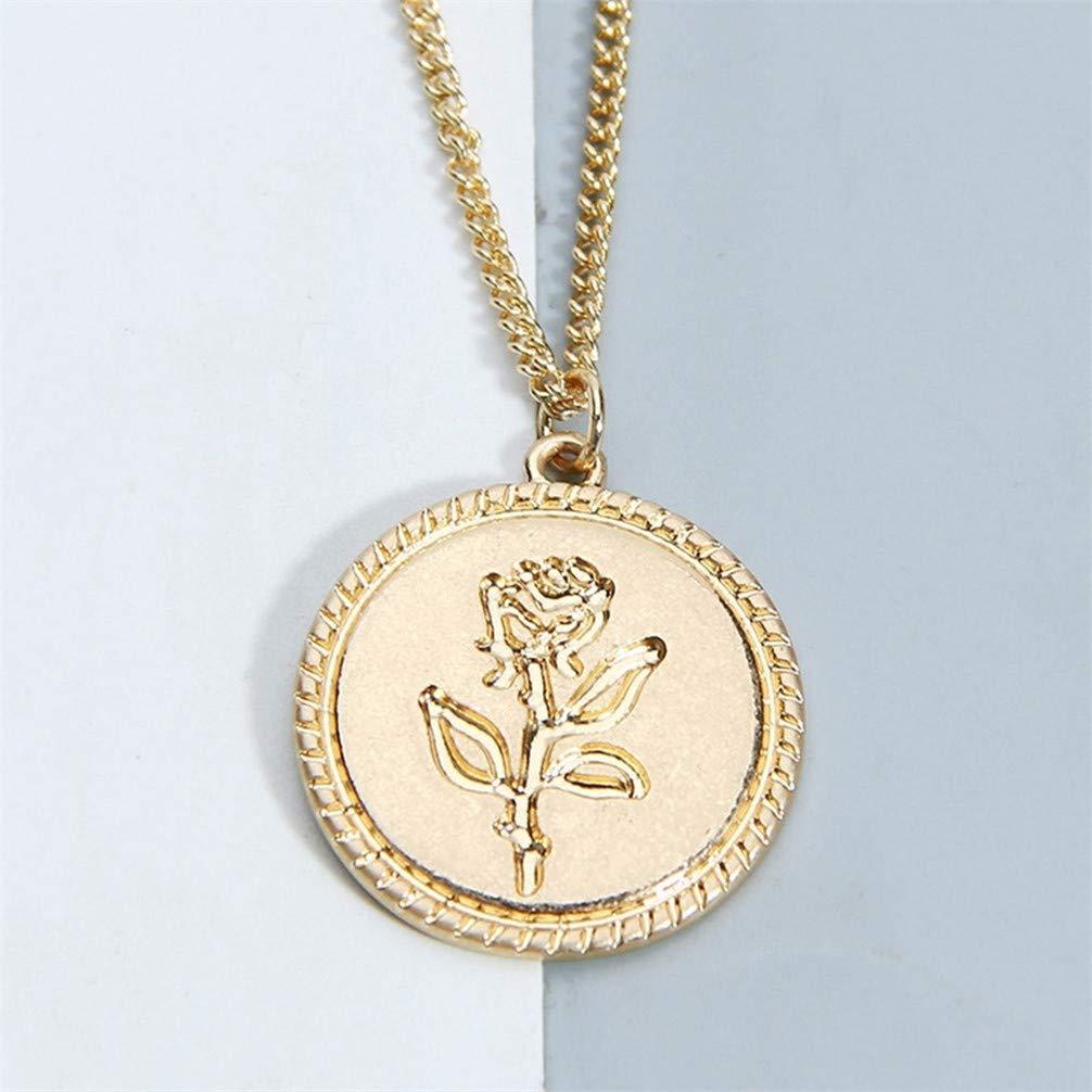 Toporchid Elegante Rose Muster Anh/änger Halskette Schl/üsselbein Kette F/ür Frauen