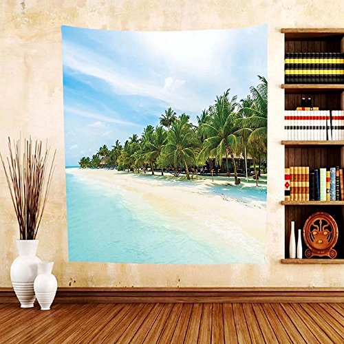 Gzhihine Custom tapestry Ocean Decor Collection Surreal Beach and Sea in Tropical Island with Coconut Palm Trees Ocean Exotic Lands Bedroom Living Room Dorm Tapestry Turquoise - In Fl Beach Vero Outlets