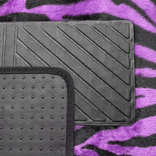 Oxgord 4pc Set Of Zebra Print Auto Floor Mats Velour