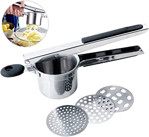 Potato Ricer and Masher, Stainless Steel Ricer for Mashed Potatoes Kitchen Lemon Squeezer Tool Food Press for Potato, Fruit, Vegetables, Squash