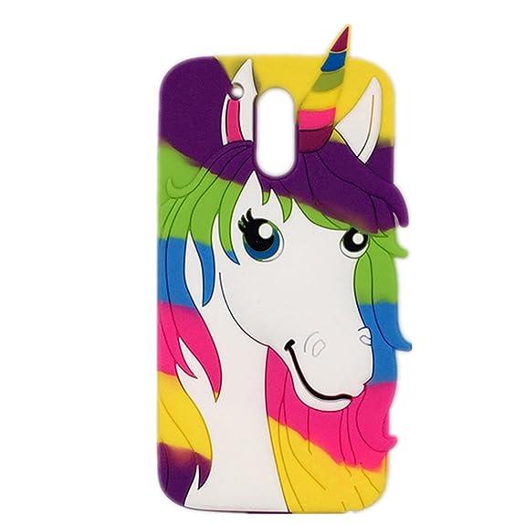Amazon.com: Moto G4 Plus Case,J.Thor Colorful Unicorn Rainbow Horse ...