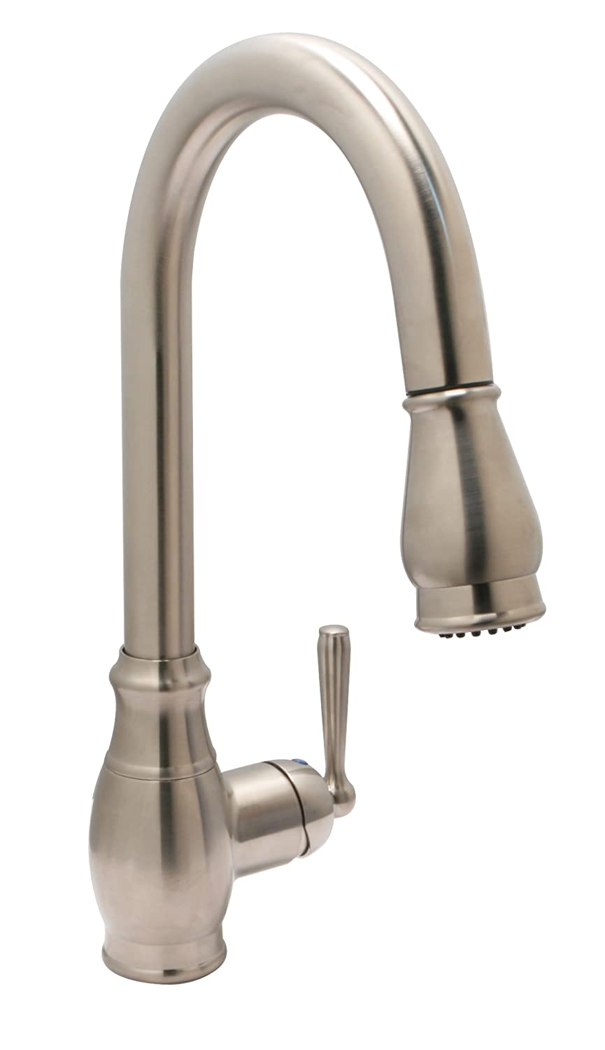 huntington brass pulldown kitchen faucet with sprayer and optional deck plate satin nickel touch on kitchen sink faucets