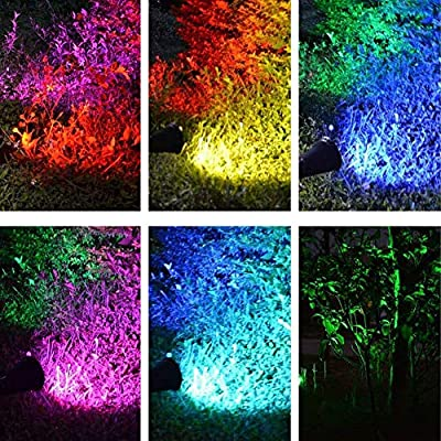 MEIHONG Colored Solar Spotlight, 7 LED Adjustable Landscape Lighting, Waterproof Wall Light Solar Lights Outdoor with Auto On/Off for Garden Decorations (Changing Color & Fixed Color)(4 Pack) : Garden & Outdoor