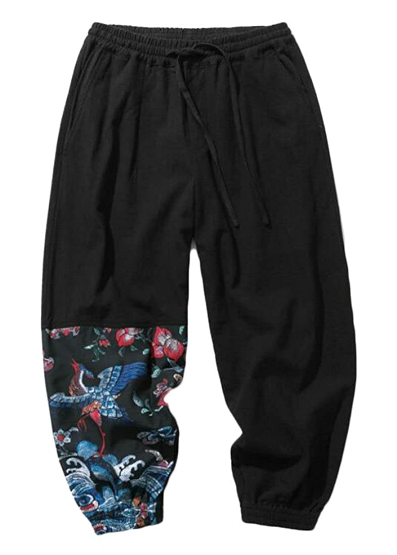 XiaoTianXin-men clothes XTX Mens Oversized Floral Print Drawstring Linen Loose Joggers Pants