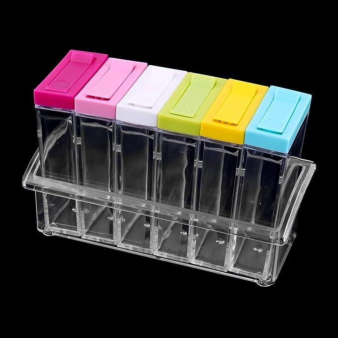 Amazon.com | eDealMax plástico Domésticos de Cocina Condimento Sal de la especia condimento contenedor de almacenamiento Box Set colorido: Condiment Pots