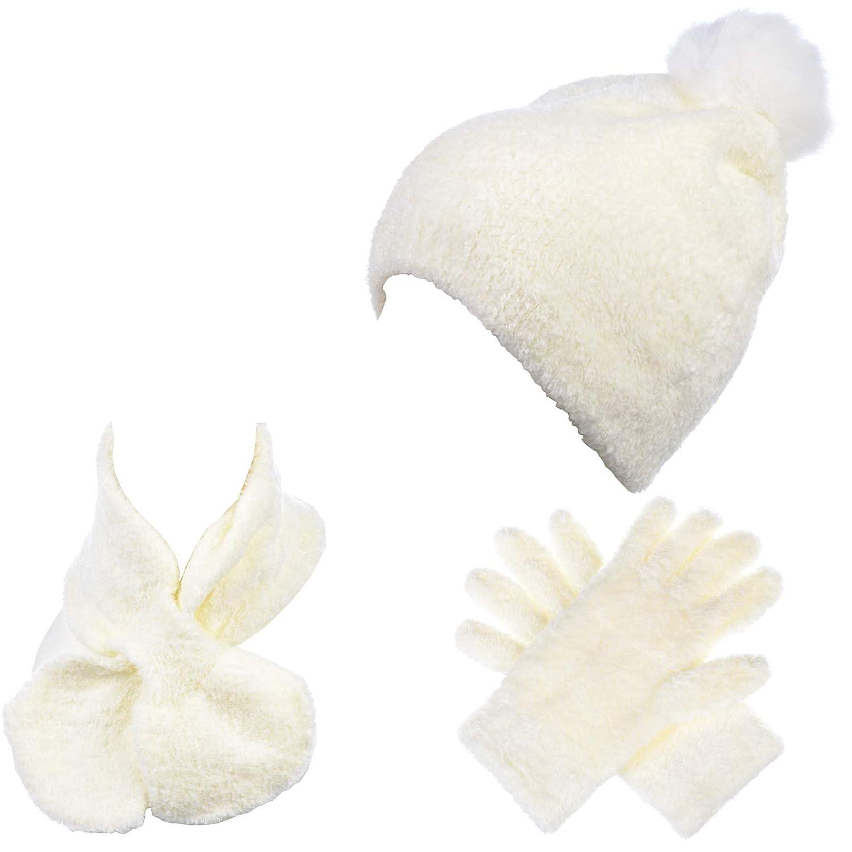 BYOS Winter Cozy Chenille 3-PCs Set Pom Pom Beanie Hat /& Gloves /& Neck Warmer