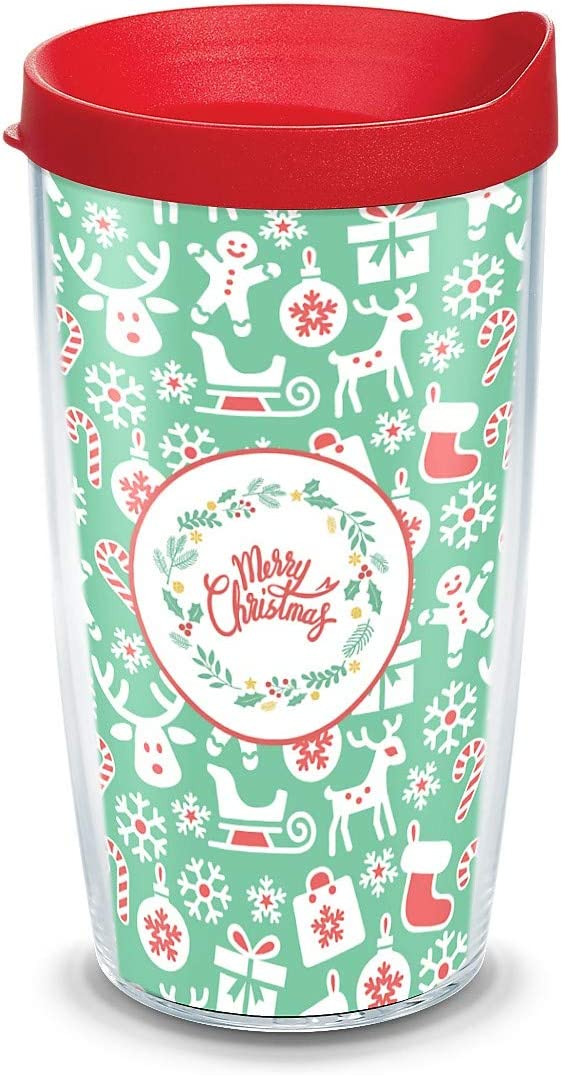 Tervis Christmas Gift Wrap, Wrap with Red Travel Lid 16-Ounce Tumbler