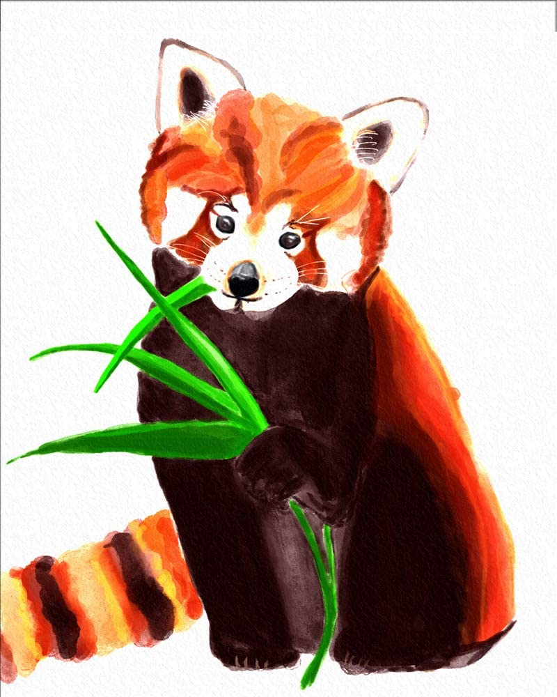 """7Dots Art. Animals. Watercolor Art Print, poster 8""""x10"""" on Fine Art thick Watercolor paper for childrens kids room, bedroom, bathroom. Wall art decor with Animals for boys, girls. (a Red Panda)"""