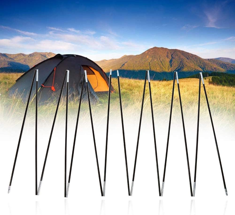 2 sets 7 Sections Aeloa Tent Pole Fiber Glass Rod Double Tent Pole Support Frames Kit for Outdoor Camping