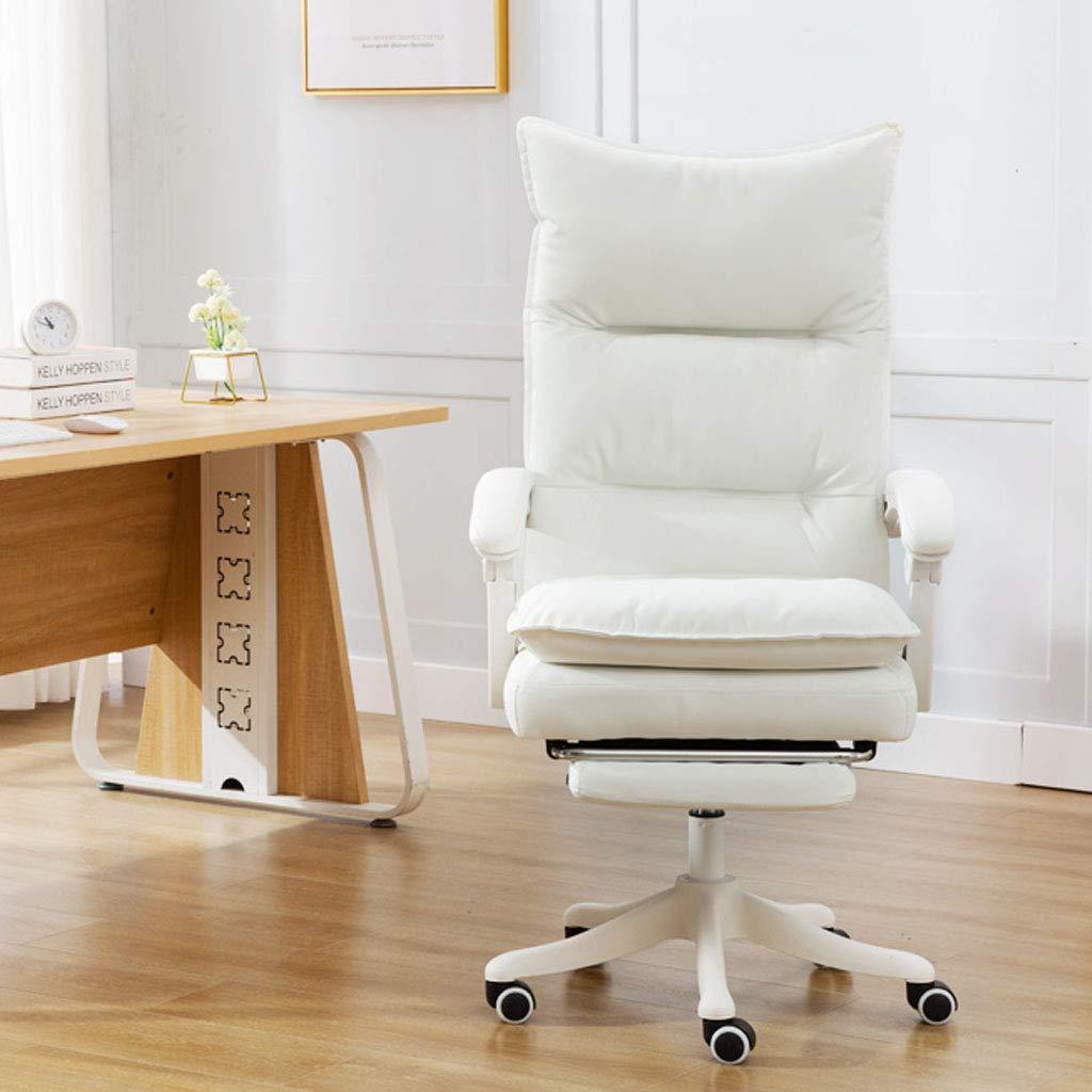 Kontor ryggstöd lat stol hög rygg datorstol svängbar kontor uppgift stol med hudvänlig tyg ergonomisk design justerbar höjd för sovrum fritid chic present Vitt