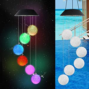 Solar Wind Chimes Crystal Ball Lights Outdoor Solar Colorful Changing LED Solar Powered Wind Chime Light Garden Portable Hanging Lamp LED Lights Waterproof Lamps Decorations Festival Gift
