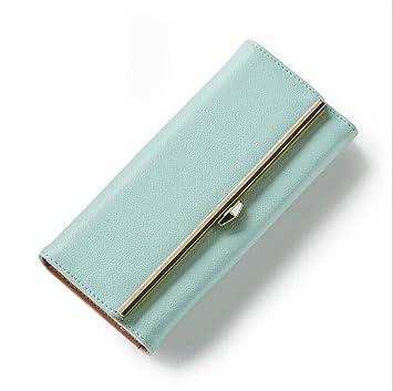 YasLa Roele Cartera Billetera Mujer Larga Simple 3 Pliegues Posición De Múltiples Tarjetas Único Estilo Coreano Embrague Monedero Paquete De Monedas Día De ...