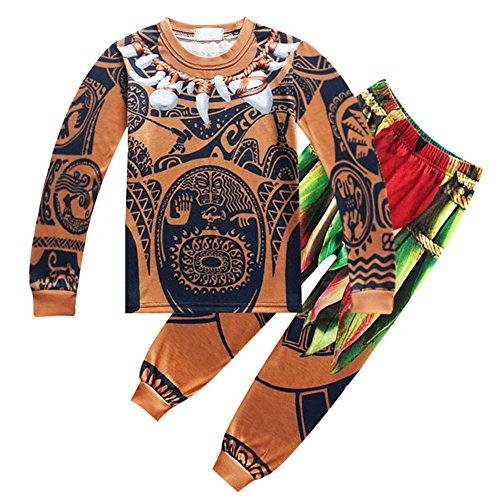 KIDHF Moana Maui Boys Cartoon Comfy Loose 2-Piece Long Pajama Set Sleepwear (As - Maui 63