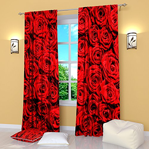Factory4me Red Curtains Collection Curtain with red Roses. Window Curtain Set of 2 Panels Each W42 x L84 Total W84 x L84 inches Drapes for Living Room Bedroom Kitchen (Red Rose Collection)