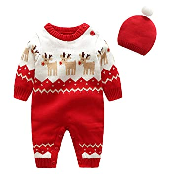 4148987d2 Amazon.com   ALLAIBB Baby Boy Girl Christmas Outfit 2Pcs Set Knit ...