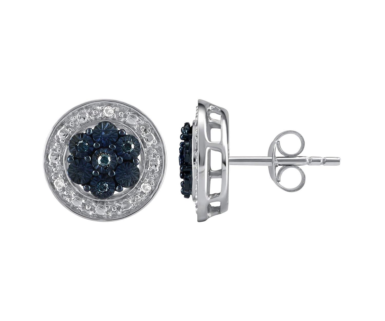 Pipa Bella Blue Diamond Earrings for Women in 925 Sterling Silver I-J  Color f51bc4b621