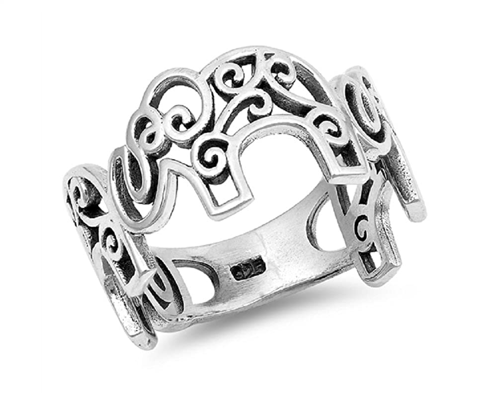 Princess Kylie Sterling Silver Filigree Elephants Ring